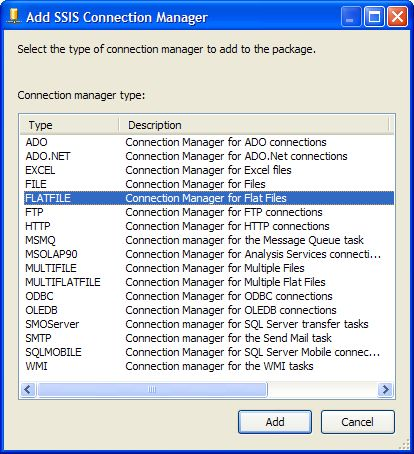 Add SSIS Connction Manager